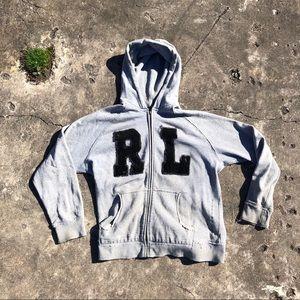 Distressed Ralph Lauren zip up hoodie